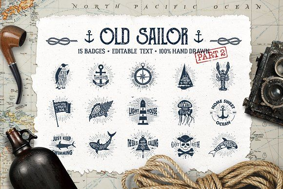 Old Sailor (Vintage Badges/part2) by Cosmic Store on @creativemarket