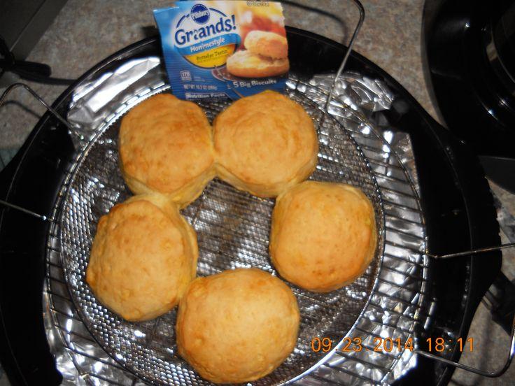 Pillsbury biscuits baked in NuWave in basket