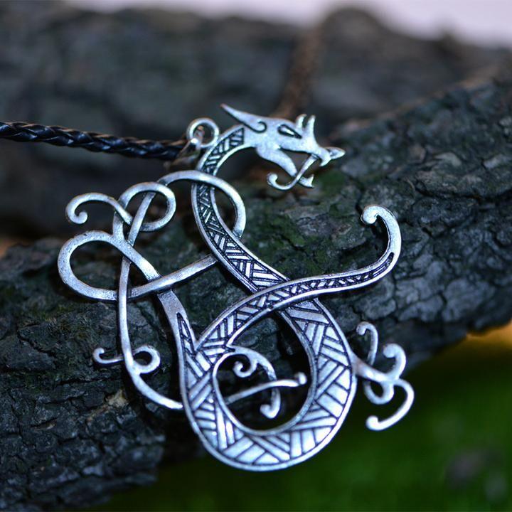 Viking Dragon Necklace Norse Dragon Pendant Necklace Dragon Jewelry Viking Dragon Norse Jewelry