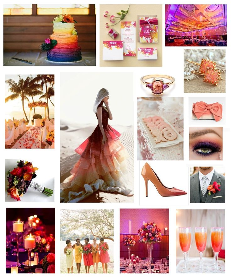 Sunset Themed Wedding Inspiration Board by Perfect Pair Weddings. Pinks, Oranges, Corals, Purples. Perfection. perfectpairweddings.ca