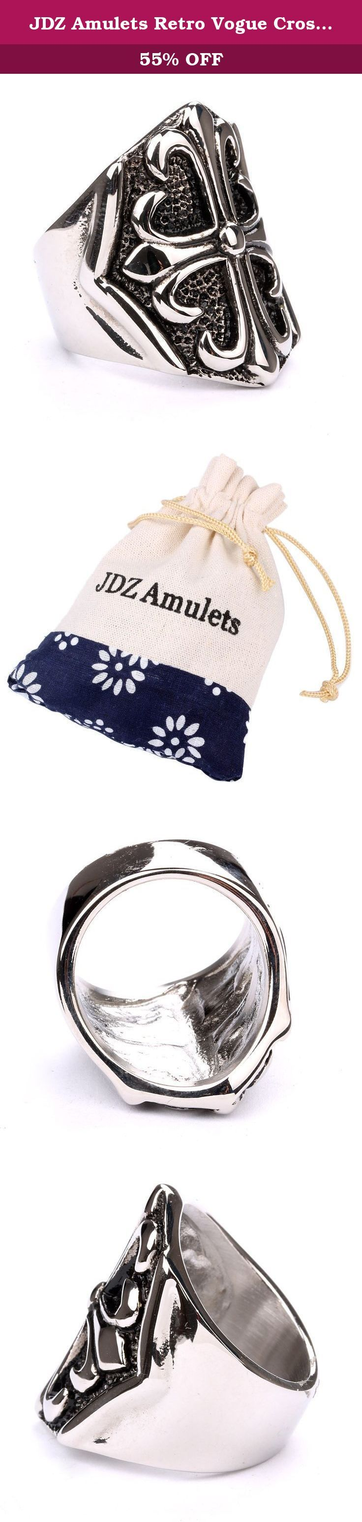 JDZ Amulets Retro Vogue Cross Stainless Steel Gothic Personality Knight Finger RingSP0582A08. Material:Stainless Steel Size:1.0x1.0inch Available sizes:8,9,10,11,12 Choose the high quality stainless steel let the ring looks shiny. The image may show a slight difference to the actual product in color and composition. .
