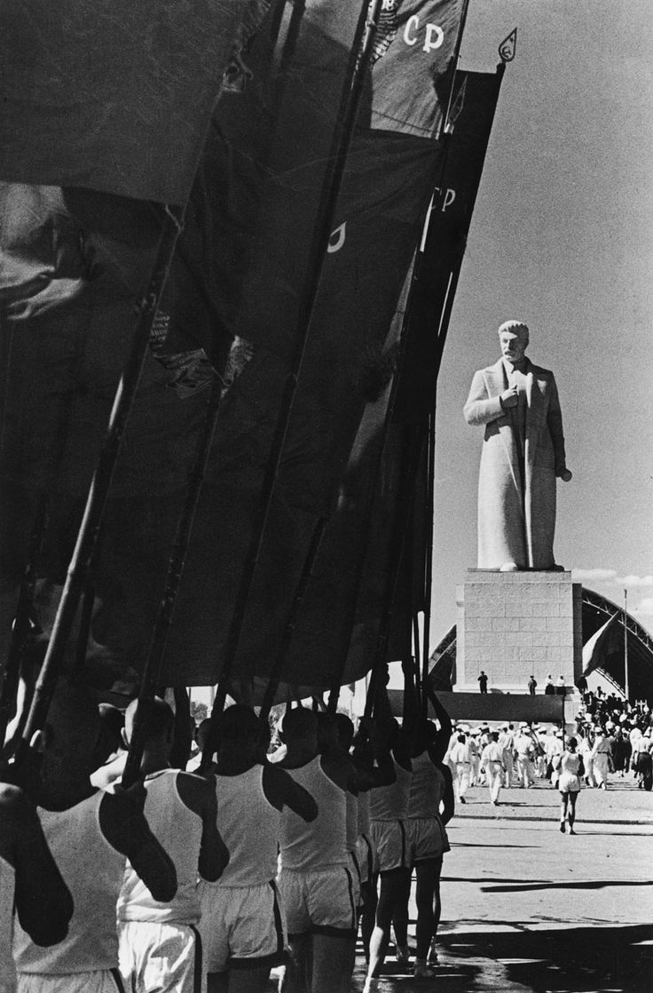 Sport parade at the All-Russia Exhibition Centre square, Moscow, 1939 by Mark Markov-Grinberg