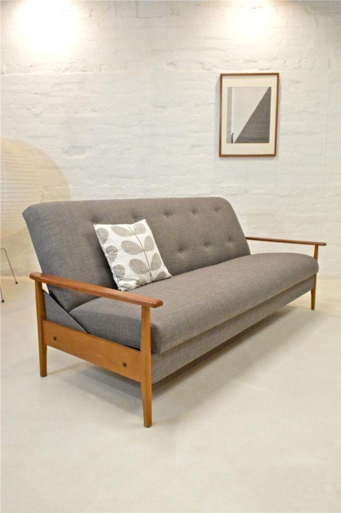 mid century modern sofa bed guy rogers danish era retro vintage teak