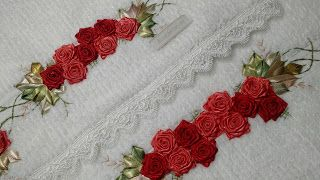 LOY HANDCRAFTS, TOWELS EMBROYDERED WITH SATIN RIBBON ROSES: CONJUNTO DE TOALHAS: BANHO E ROSTO DELICADAMENTE B...