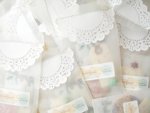 glassine envelopes + paper doilies