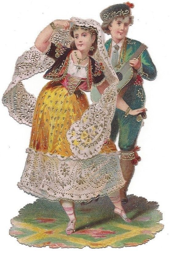 Victorian Die Cut Scrap Beautiful Couple Dancing Gold Edged with Lace Paper