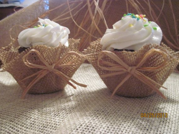 Burlap cupcake decoration ♡ so stinkin cute! Love this! Next vow renewal wedding please!