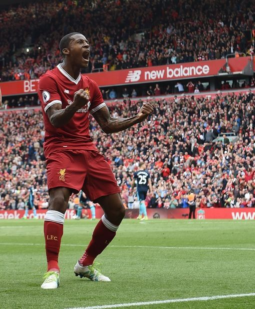 LIVERPOOL, ENGLAND - MAY 21: (THE SUN OUT, THE SUN ON SUNDAY OUT) Georginio Wijnaldum of Liverpool celebrates his goal during the Premier League match between Liverpool F.C. and Middlesbrough F.C. at Anfield on May 21, 2017 in Liverpool, England. (Photo by John Powell/Liverpool FC via Getty Images)