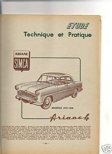 REVUE TECHNIQUE AUTOMOBILE 1958 SIMCA ARIANE 4