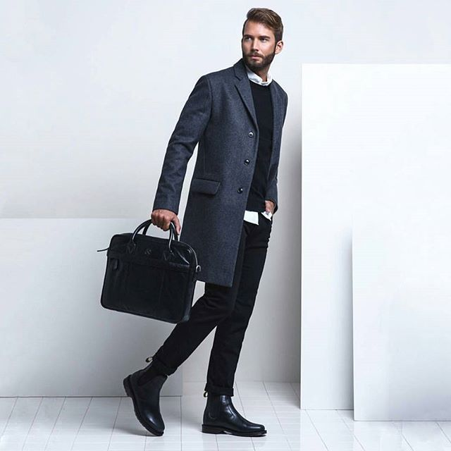 WEBSTA @ nearfuturelifestyle - Super #cool #outfit by @erik.forsgren #blue #coat #jacket #white #shirt #black #pull #jeans #boots #shoes #streetstyle #classy #look #fashion #bag #beard #haircut #boy #men #nearfuturelifestyle