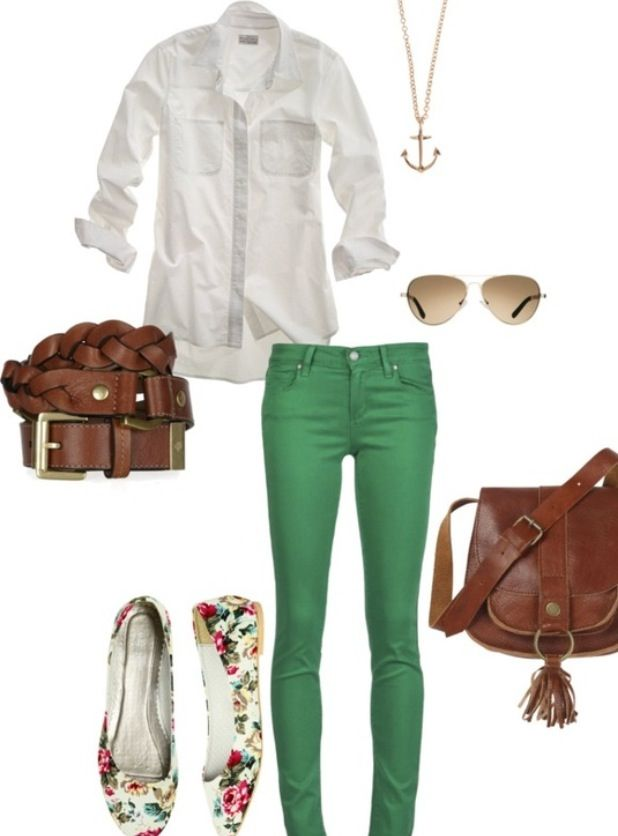 Leather belt and collard long sleeve.