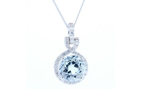 18ct white gold and diamond pendant, featuring a centre round aquamarine.