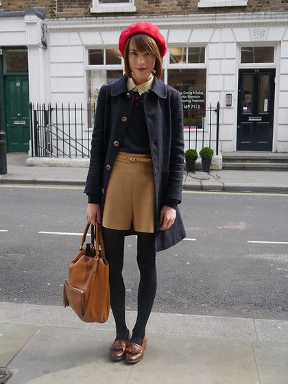 A.P.C. Peacoat, American Apparel Beret, Boutique By Jaeger Jumper, Whistles Shorts, Anya Hindmarch Tote, Russell And Bromley Loafers