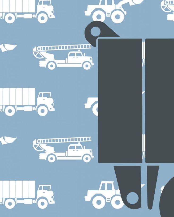 Een mural voor kleine vrachtwagenchauffeurs! Deze gepersonaliseerde behangposter heeft als achtergrond een patroon van brandweerauto's, graafmachines en vrac...