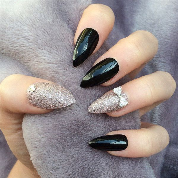 Doobys Stiletto Nails Black Gloss Elegant Lady Part 2 24 Claw Point False Nails featuring polyvore, beauty products, nail care, nail treatments and nails