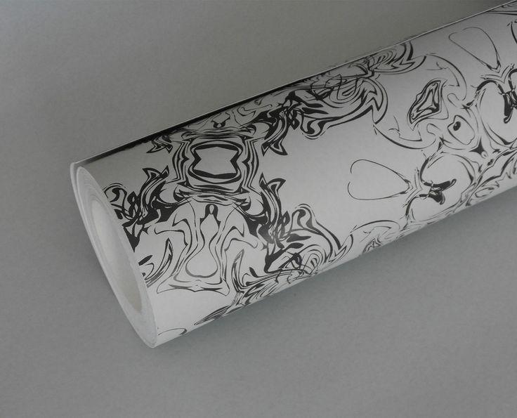 Detail - almost black & dove grey wallpaper