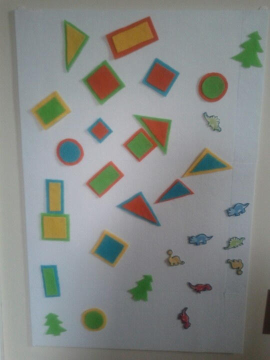 Felt Activity Board. Have a felt back board and felt cut-outs for hours of toddler fun. I have a set of geometric shapes, letters, numbers, and more. Makes a great, inexpensive, learning tool.