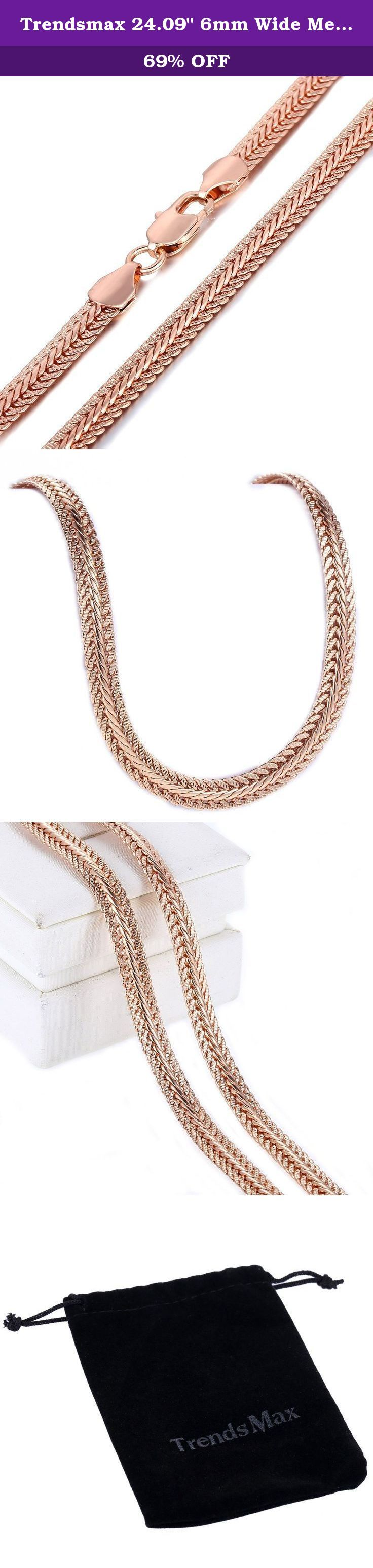 """Trendsmax 24.09"""" 6mm Wide Men Women Chain Hammered Snake Bone Rose Gold Plated Necklace. Fashion Design Trendsmax Jewelry 6mm Wide Men Women Chain Hammered Snake Bone Gold Plated Necklace. Daily wear, It's perfect gift for Birthday, Anniversary, Christmas."""