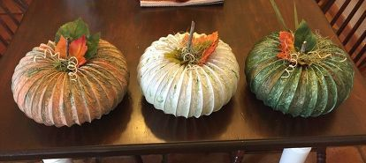 my dryer vent hose pumpkins, crafts, repurposing upcycling, seasonal holiday decor, My finished pumpkins