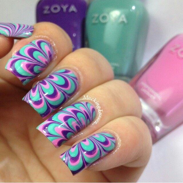 Water Marble Nail Art I Love The Colors Nails Pinterest And