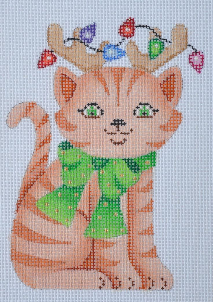 Christmas Ornament / Tiger Striped Cat with Green Bow
