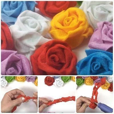 Come fare rose in pannolenci attorcigliate: basta preparare una striscia di pannolenci, fare dei taglietti, attorcigliare e incollare. Video Tutorial. #diy #flower #handmade