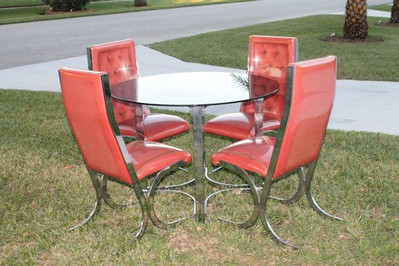 Vintage Set Of 4 Dining Side Chairs Retro Dinette Table
