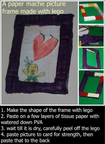 Declutterbug crafts: Making a paper mâché picture frame with Lego