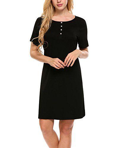 3f181f0d5c61 MAXMODA Nightshirts Women's Sleepshirt Cotton Sleepwear Short Sleeve Sleep  Dress S-XXL