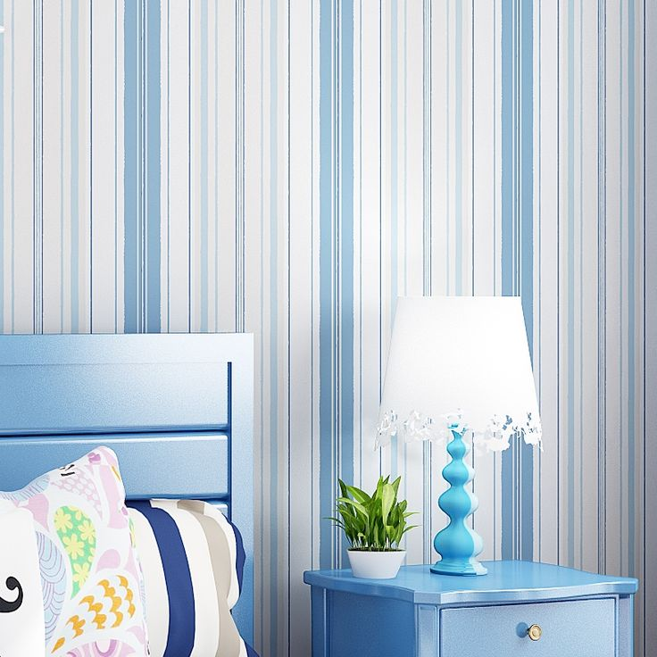 19.90$  Buy here - http://ali2ee.shopchina.info/1/go.php?t=32440741512 - Mediterranean Style Blue Pink Vertical Striped Non-woven Wallpaper For Kids Room Bedroom Children Room Wall Decoration Wallpaper  #magazineonlinebeautiful