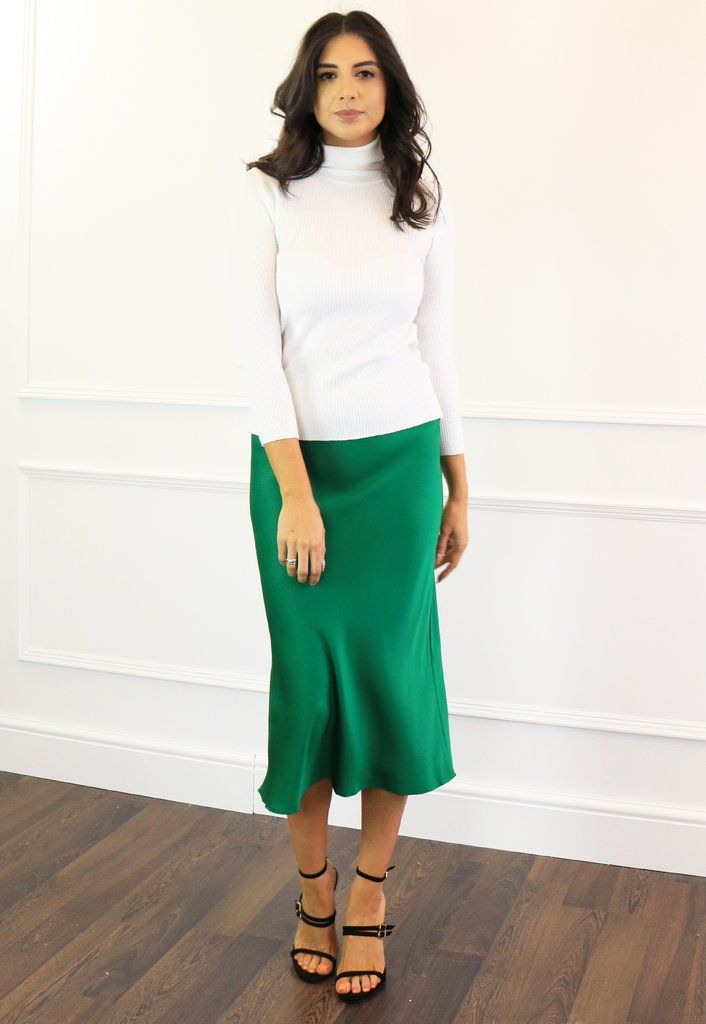 new authentic new product the latest Satin Bias Cut Midi Slip Skirt in Emerald Green | www ...