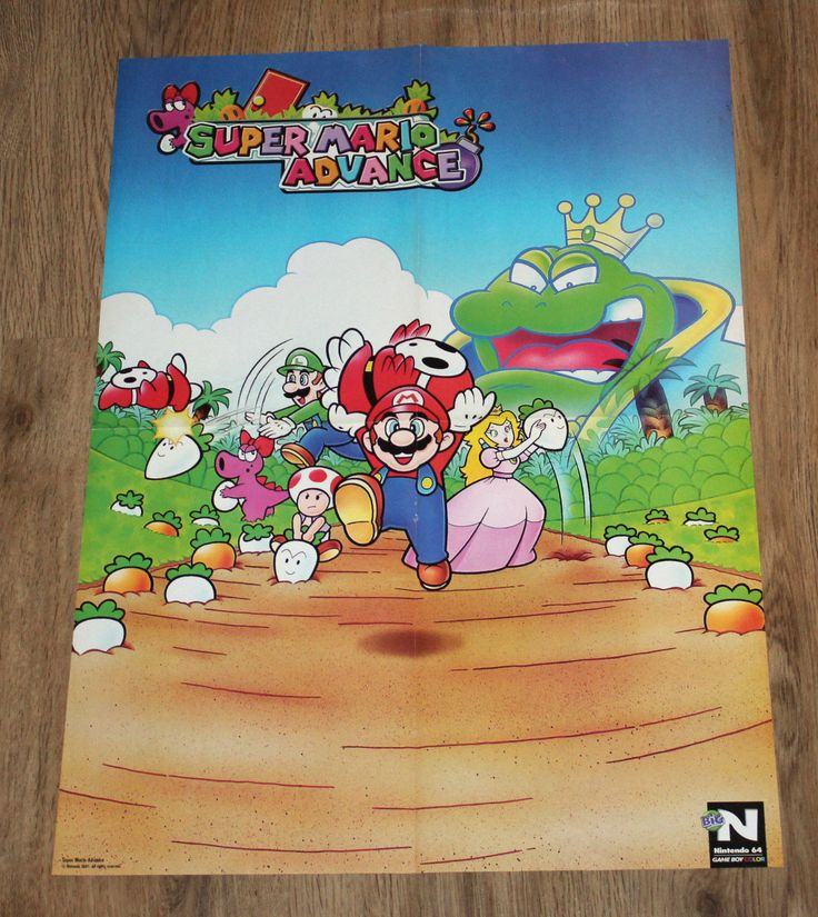 2001 Nintendo Super Mario Advance / Excitebike 64 very rare Poster 58x42cm   eBay