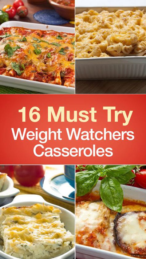 16 Must Try Weight Watchers Casserole Recipes including Chicken Taco Casserole, Cheesy Squash, Chicken and Cheese, Baked Cream Cheese Spaghetti Casserole, Green Bean, Bubble Up Chicken Pot Pie, Cabbage Beef, Bubbling Pizza, Stuffed Mushroom, Farmers Breakfast, Zucchini, Easy Cheesy Eggplant, Mexican, Reuben, Deep-Dish Pizza, and more!