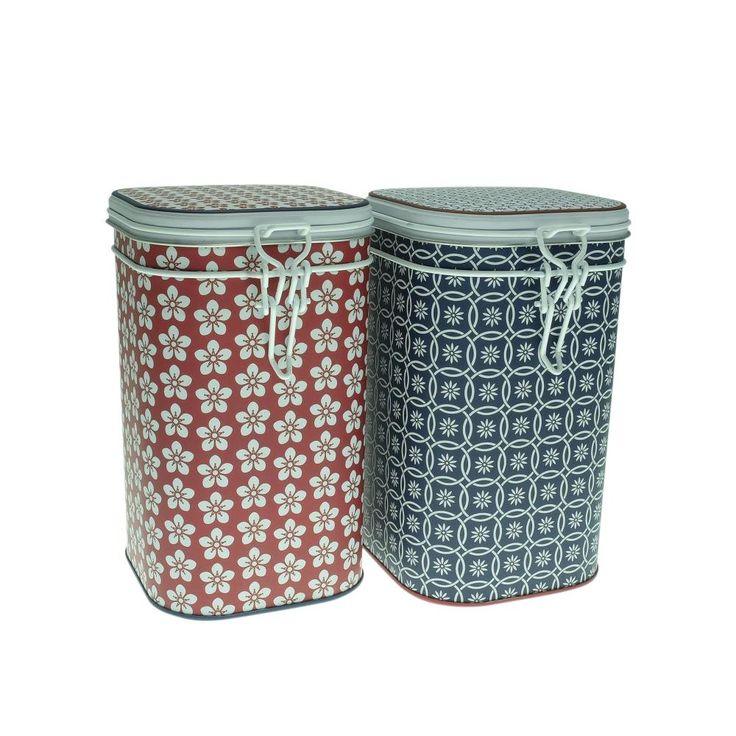 2er Set Teedosen SCANDIC, für je 250 g, rechteckig, 16cm, rot blau, Eigenart: Amazon.de: Küche & Haushalt
