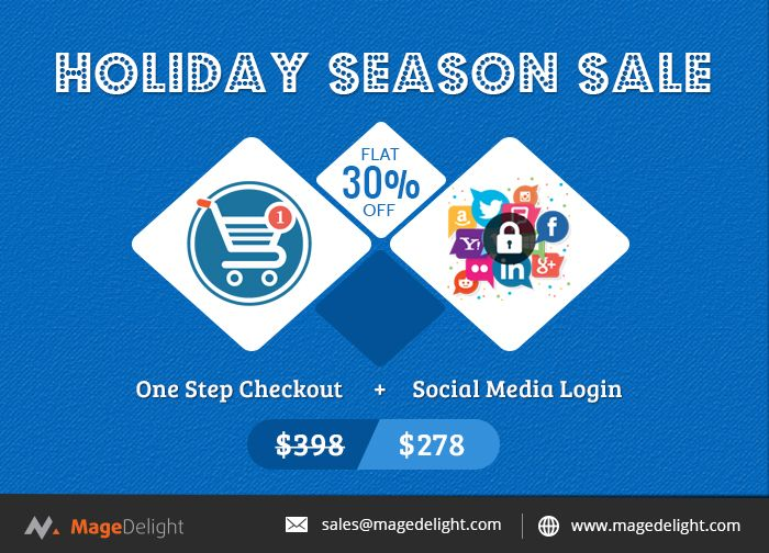 Get 30% Flat discount on the purchase of One Step Checkout and Socialmedia login Extension Combo.  #Magento2 #OneStepCheckoutextension will help you to combine all the checkout steps on one page & #SocialMediaLoginExtension will let you Add Social Media Account registration/login options. #magentodeals #magento2extensions #holidayoffers