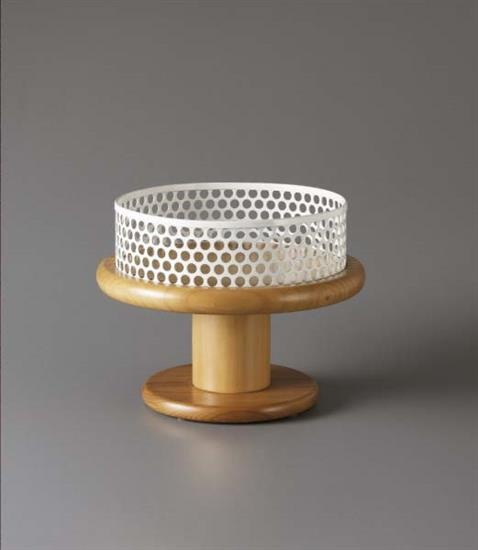 ETTORE SOTTSASS JR Fruit bowl , 1974-1978  Walnut, painted perforated metal. 25.4 cm. (10 in.) high, 31.1 cm. (12 1/4 in.) diameter Manufactured by EAD, Italy.