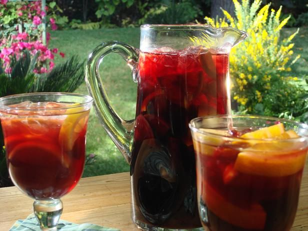 Spanish Sangria from FoodNetwork.comFood Network, Bobby Flay, Red Sangria, Peaches Sangria, Spanish Sangria, Mulled Wine, Drinks, Red Wines, Sangria Recipes