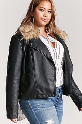e2cf5af8798bd Plus Size Faux Fur-Trim Moto Jacket
