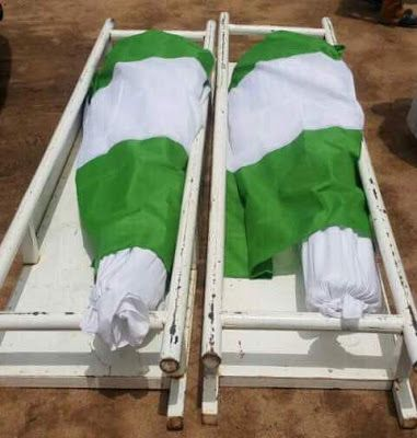 REMAINS OF TWO GALLANT SOLDIERS KILLED IN ACTION BURIED IN GOMBE