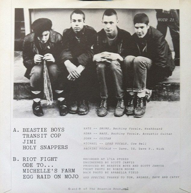 Back in the day: The band originally consisted of - pictured from left to right:Kate Schellenbach, Adam Yauch, Berry and Mike Diamond - as they are shown on the back of their 1982 EP Polly Wog Stew