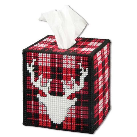 Winter Lodge Tissue Box Cover Plastic Canvas Kit - Herrschners #plaid