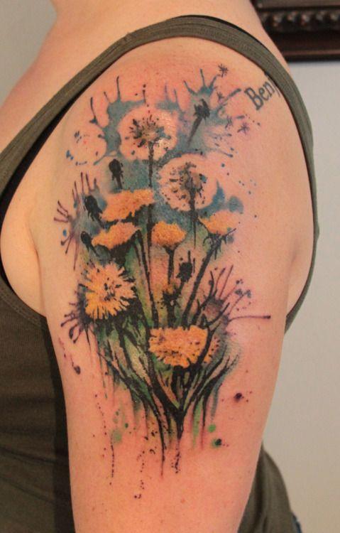 Gene Coffey: Negative Spaces, Watercolor Tattoo, Dandelions Tattoo, Water Color, Tattoo Flower, Paintings Flower, Flower Tattoo, Watercolour Tattoo, Gene Coffey