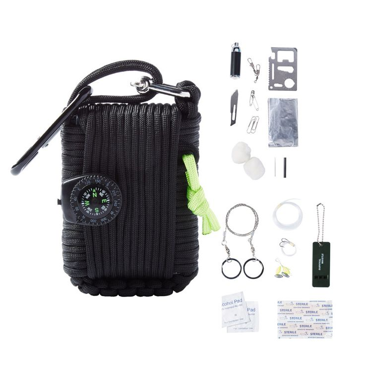 Outdoor SOS equipment emergency bag field survival box self-help box for Camping Hiking saw/fire sobrevivencia flint Keychain