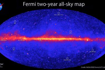 NASA Spacecraft Lifts Veil on Universe's Brightest Explosions    This all-sky image, constructed from two years of observations by NASA's Fermi Gamma-ray Space Telescope, shows how the sky appears in gamma-ray light. Brighter colors indicate brighter gamma-ray sources.