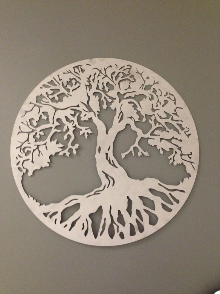 Round Tree of Life industrial metal wall art 24 by alkemymetal
