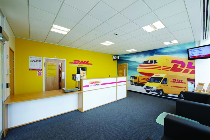 The #design for the #reception area to the hub was achieved, showcasing the #DHL #brand