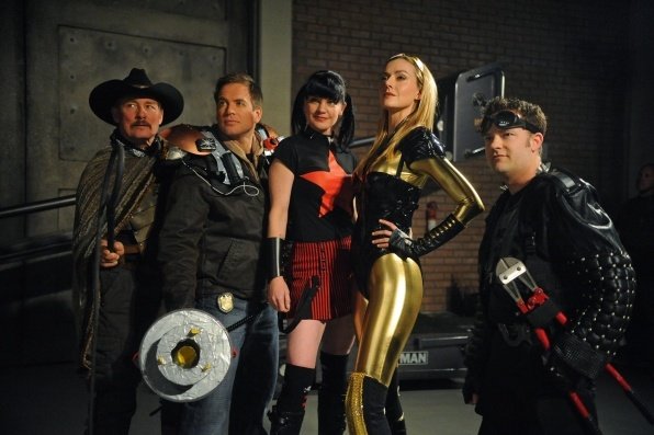 """""""Secrets"""" (season 9, episode 15) : When a Navy captain is found dead with an unusual costume hidden under his uniform, NCIS uncovers a secret society of real-life super heroes and must track down the villain, on NCIS. Pictured left to right: Tom Lind, Michael Weatherly, Pauley Perrette, Allison McAtee and Shannon McClung. Photo: Ron P. Jaffe/CBS ©2012 CBS Broadcasting Inc. All Rights Reserved.: Abby, Photos, Favorite Tv, Secrets, Watch, Ncis La, Superheroes"""