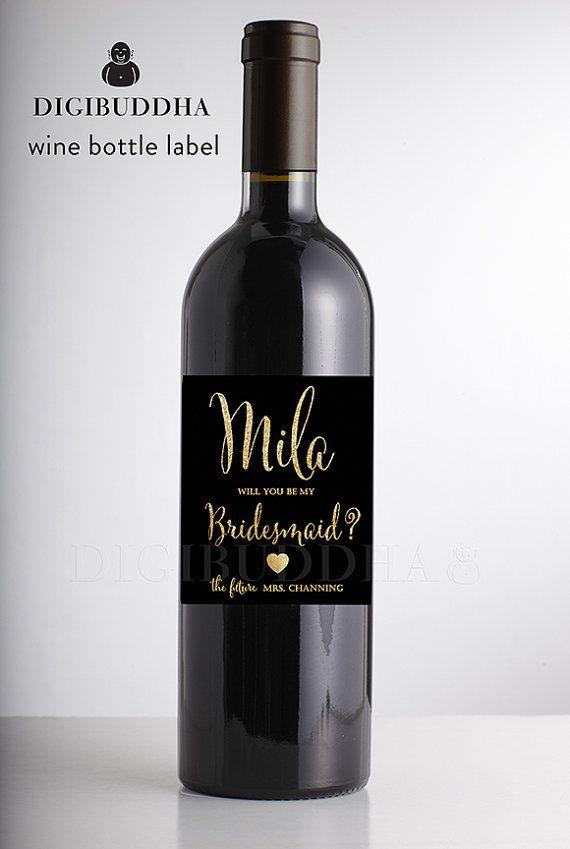 Va a ser mi Dama de honor Etiquetas de vino por digibuddhaPaperie