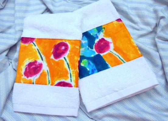 HAND TOWELS /2 ISLE CAPRI Bold Orange Blue Cream Hand Towels #CustomDecorated #Linens