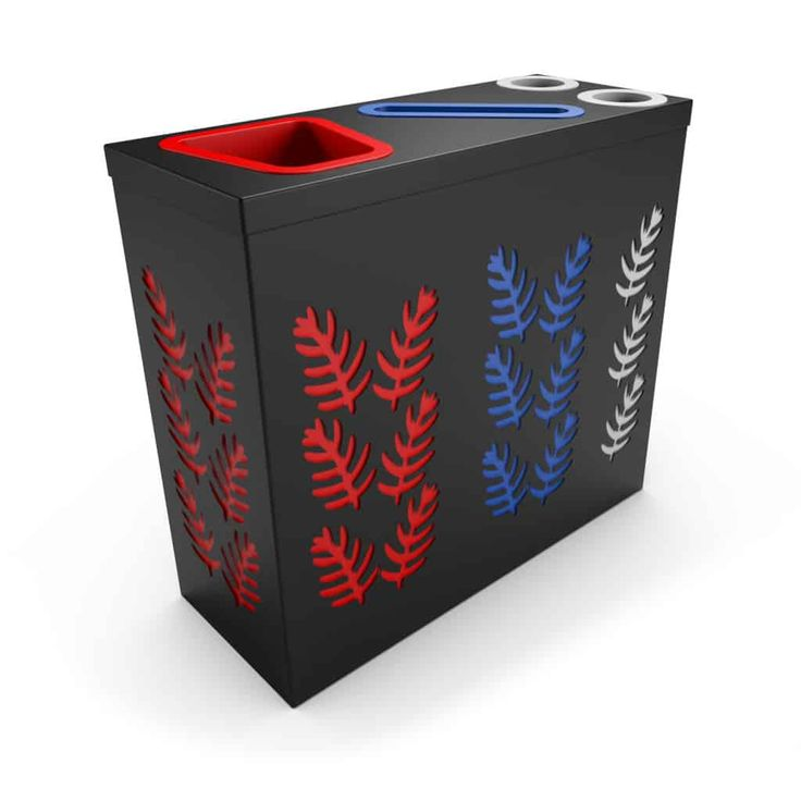 SAO OFFICE Noir poubelle de tri sélectif avec compartiment papier et collecteur gobelets/canettes